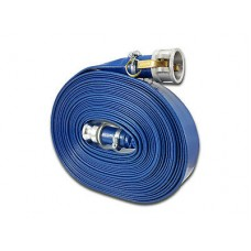 """50mm (2"""") Lay Flat Hose Assembly Blue with Camlock Fittings 15m"""
