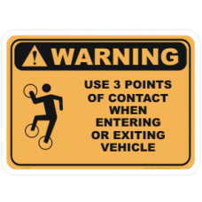 Safety Warning Sticker - 3 Points of Contact